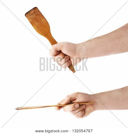 Set of caucasian male hand holding a wooden spatula, composition isolated over the white background