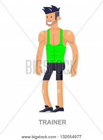 cool vector detailed character Cartoon Fitness and bodybuilding  Coach. Vector bodybuilding Coach. Illustration bodybuilding Coach character