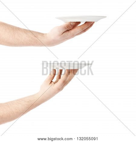 Set of caucasian male hand holding a white ceramic plate, composition isolated over the white background