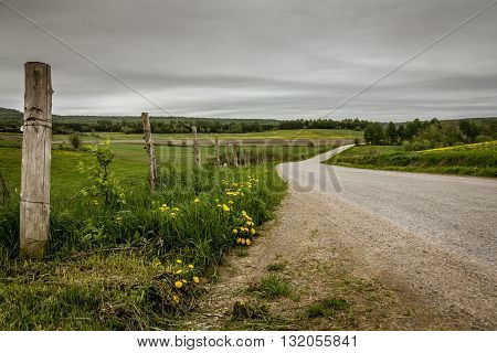 dramatic country road landscape cloudy day St-Alban Quebec, Canada