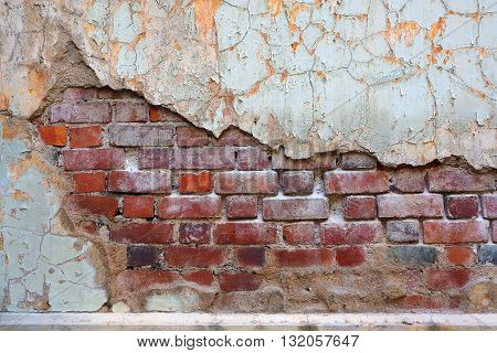 Molder old brick wall background rough weathered. Vintage look.