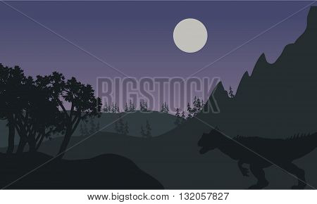 Silhouette of one Allosaurus in fields at the night