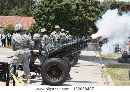 SAN FRANCISCO - MAY 30 2016: Members of the U.S. Army's Pacific Training Division perform a 21-Gun Salute for Memorial Day at the Presidio of San Francisco.
