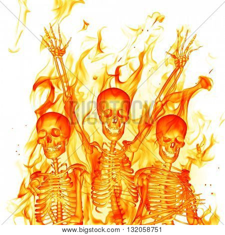 Fire skeletons. 3D illustration.