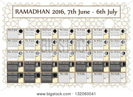 Ramadan calendar 2016 7th June. Choice: 3rd of 3. Includes: fasting tick calendar moon cycle-phases- Ramadan quotes. 30 days of Ramadan on white background with Islamic pattern. Vector illustration