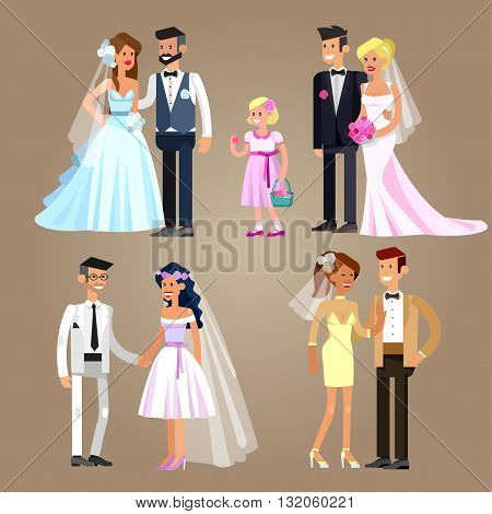 Happy cute wedding couple. Vector wedding detailed character, wedding  beautiful  smiling bride and groom. Cool wedding flat illustration. Vector wedding