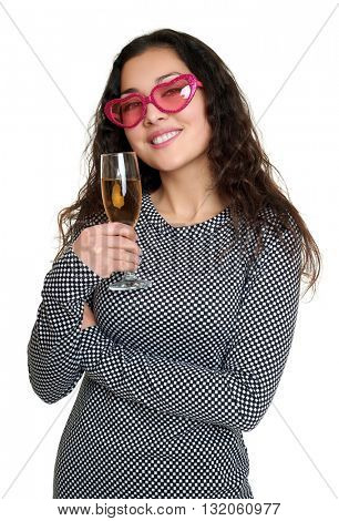 girl with champagne glass and pink sunglasses, beauty portrait, black and white checkered dress, long curly hair, glamour concept, isolated on white background