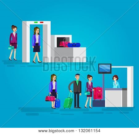 Vector detailed characters people in airport lounge. Woman is registered, checks the metal scanner, people baggage claim, flat  illustration