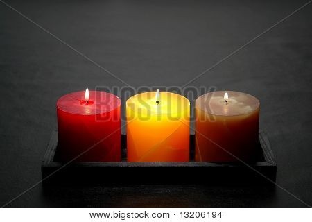 Decorative Pillar Candles Burning