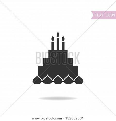 Cake with candles. Black silhouette flat icon. Vector illustration