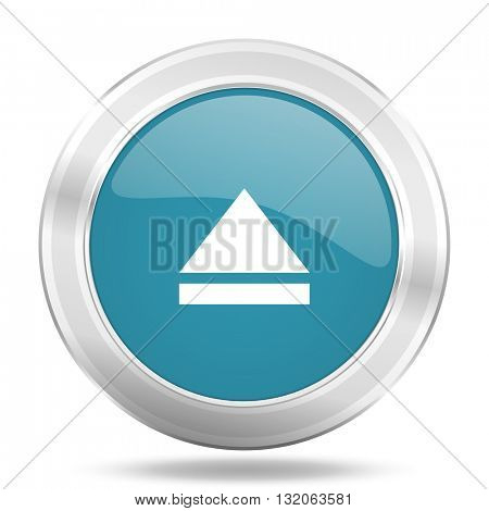 eject icon, blue round metallic glossy button, web and mobile app design illustration