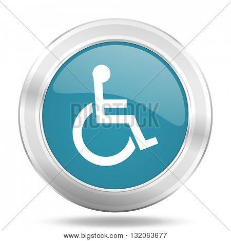 wheelchair icon, blue round metallic glossy button, web and mobile app design illustration
