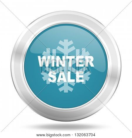 winter sale icon, blue round metallic glossy button, web and mobile app design illustration