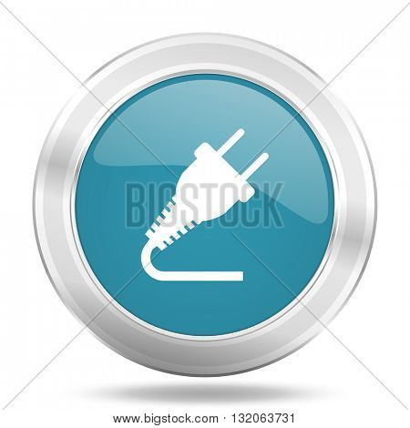 plug icon, blue round metallic glossy button, web and mobile app design illustration