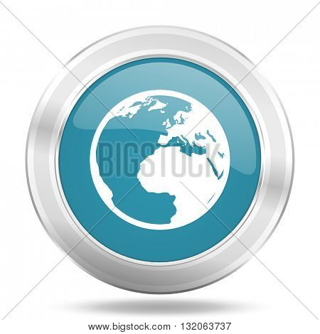 earth icon, blue round metallic glossy button, web and mobile app design illustration