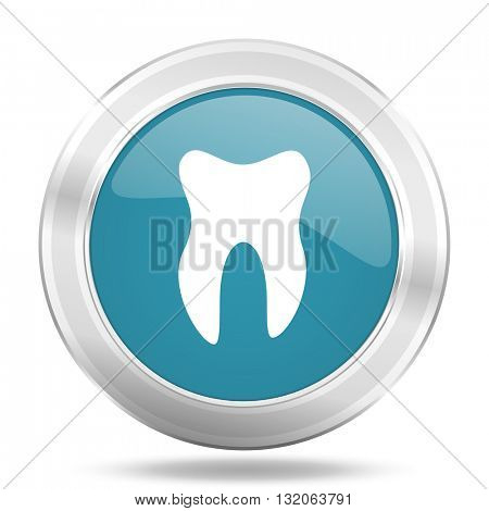 tooth icon, blue round metallic glossy button, web and mobile app design illustration