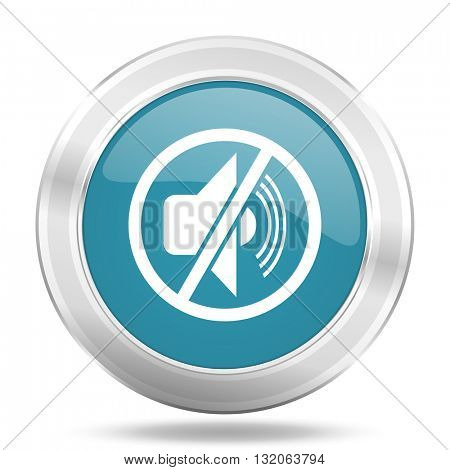 mute icon, blue round metallic glossy button, web and mobile app design illustration