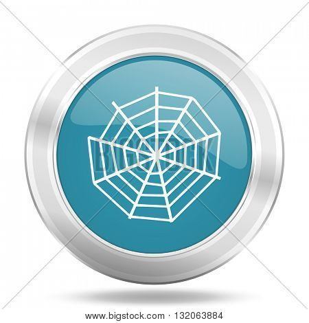 spider web icon, blue round metallic glossy button, web and mobile app design illustration