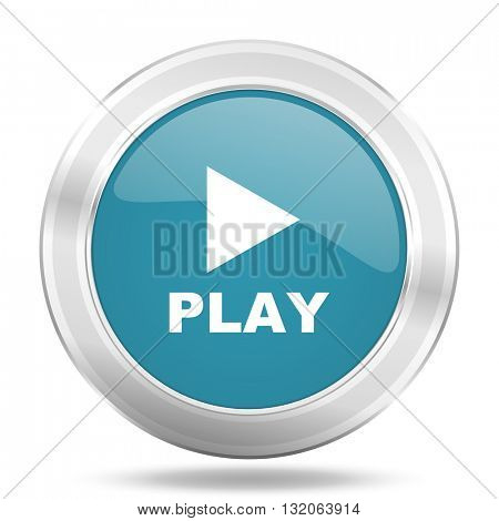play icon, blue round metallic glossy button, web and mobile app design illustration