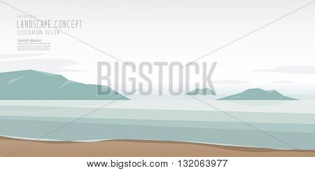 Illustration vector the seascape is calm relaxed and beautiful atmosphere Landscape Concept.