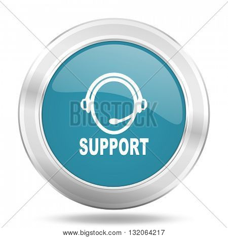 support icon, blue round metallic glossy button, web and mobile app design illustration