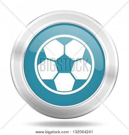 soccer icon, blue round metallic glossy button, web and mobile app design illustration