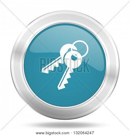 keys icon, blue round metallic glossy button, web and mobile app design illustration