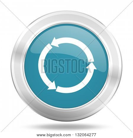 refresh icon, blue round metallic glossy button, web and mobile app design illustration