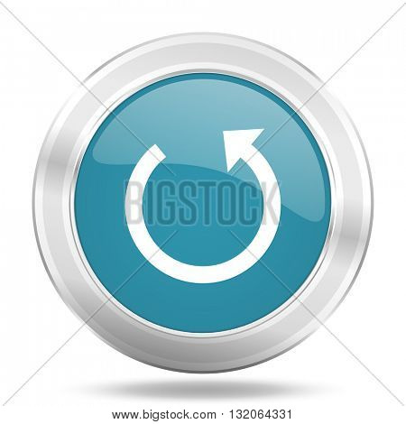 rotate icon, blue round metallic glossy button, web and mobile app design illustration