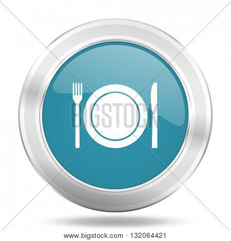 restaurant icon, blue round metallic glossy button, web and mobile app design illustration