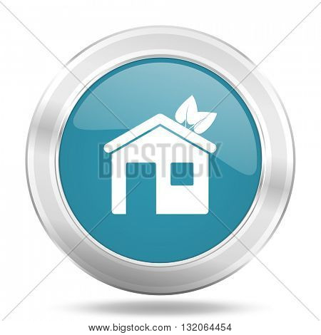 house icon, blue round metallic glossy button, web and mobile app design illustration