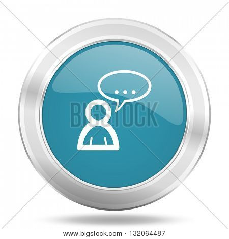 forum icon, blue round metallic glossy button, web and mobile app design illustration