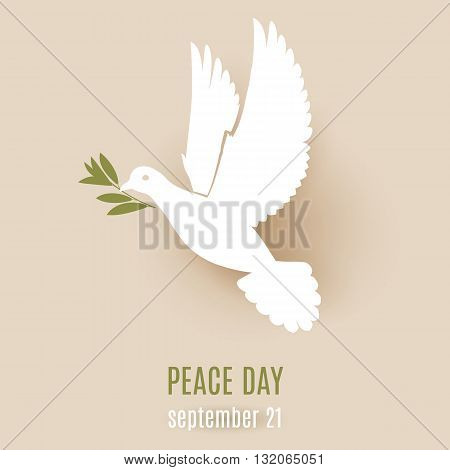 Peace day design with flying white dove with olive branch in its beak