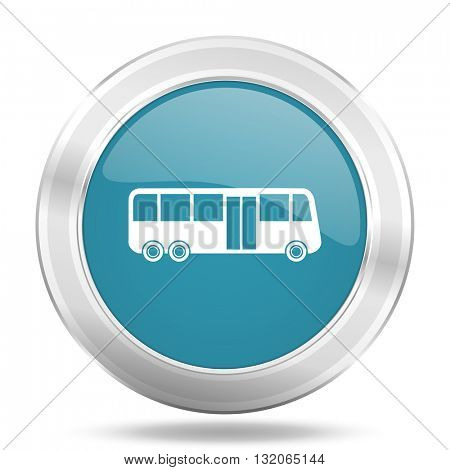 bus icon, blue round metallic glossy button, web and mobile app design illustration