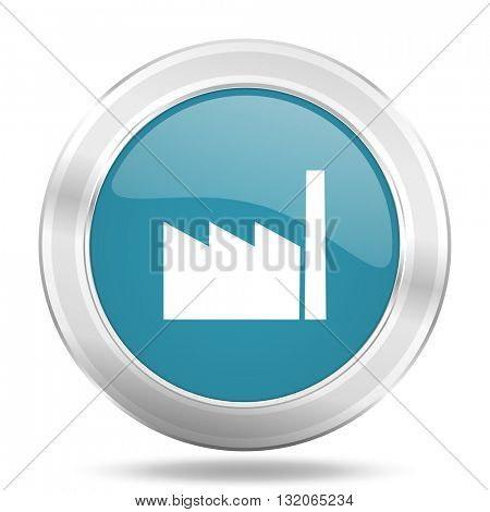 factory icon, blue round metallic glossy button, web and mobile app design illustration