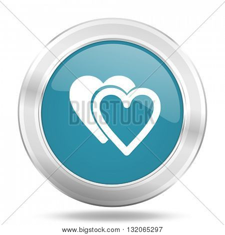 love icon, blue round metallic glossy button, web and mobile app design illustration