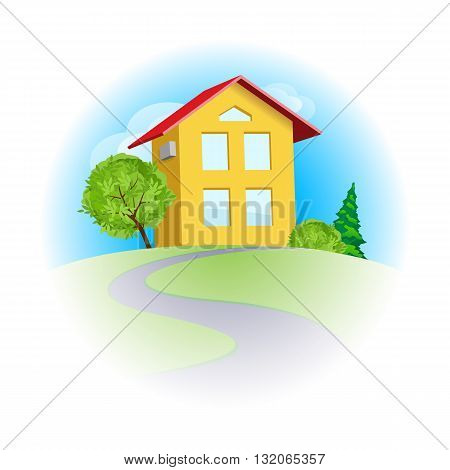 Yellow cartoon two-storied house among trees in sunny day