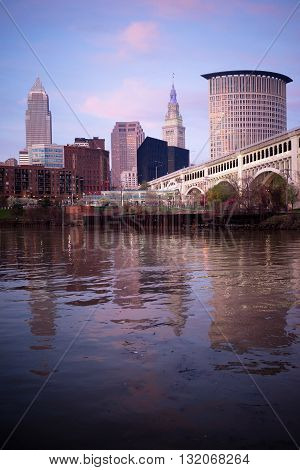 Spectacular color on the river downtown in Ohio in Cleveland