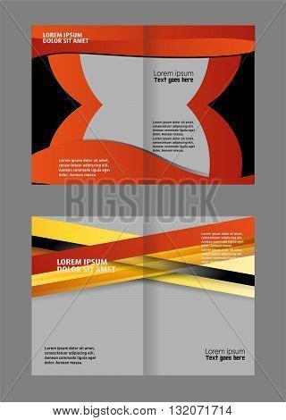 brochure bi fold template/ Empty bi-fold brochure template design with orange color, booklet poster
