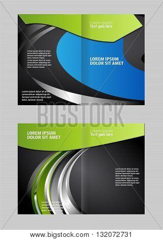 Vector empty bi-fold brochure print template design with blue elements