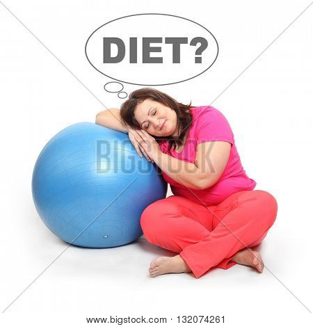 Overweight woman dreaming on the ball. People isolated on white background. Healthy lifestyle, slimming and dieting theme. Weight loss idea. Picture speech bubble for your text.