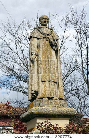 Toro Spain - March 22 2016: Dominican Fray Diego de Deza that reached charges archbishop Grand Inquisitor of the Crown of Castile and preceptor Prince John. Born in Toro in 1443