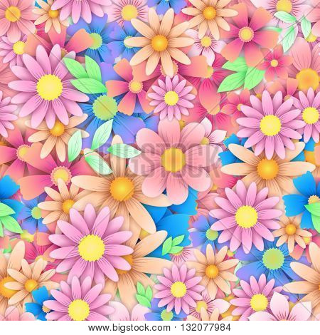 Floral seamless background pattern with pink, red, yellow chamomile, cornflower and other colorful flowers. Creative multicolored vector artwork.