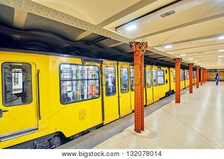 Budapest, Hangary-may 02, 2016: Interior Of Metro Station In Budapest. Yellow (1 Line) It Is The Old