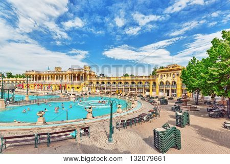 Budapest, Hungary, - May 05, 2016 Courtyard Of Szechenyi Baths, Hungarian Thermal Bath Complex And S