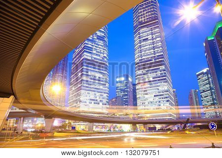 The Highway Bridge Car Light Trails Of Shanghai Modern Urban Buildings