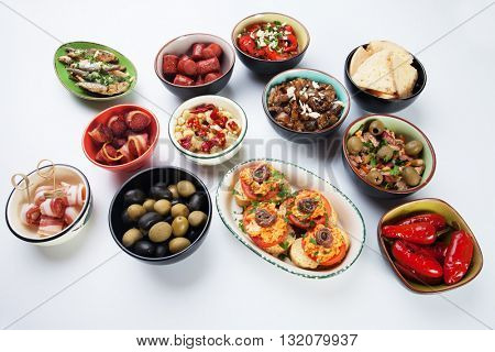 Spanish tapas, cold buffet or appetizer food served in bars