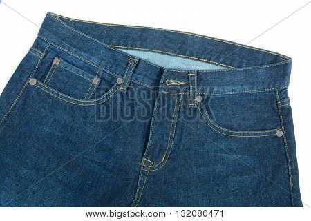 Long Trousers of jeans isolate on white background