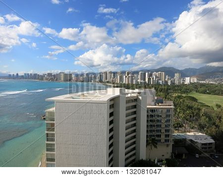 Aerial view of Kapiolani Park Waikiki Honolulu town area and Pacific ocean on Oahu Hawaii. March 2016.