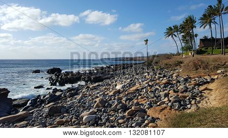 Rocks line Kepuhi Beach with Coconut trees along the shore on the island of Molokai in the state of Hawaii
